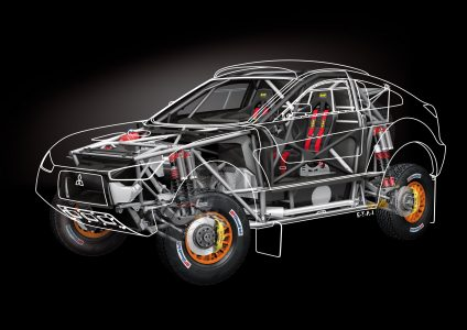 Rendu véhicule Mitsubishi de Rallye Raid